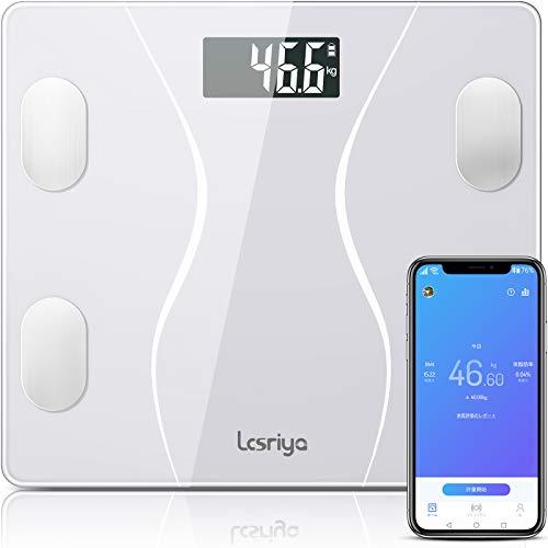 体重計 体組成計 体脂肪計 Bluetooth スマホ連動 体重/体脂肪率/体水分率/骨量/基礎代謝量/内臓脂肪レベル/BMIなど測定可能 Fitbit/Apple Healthと連携 iOS/Androidアプリで健康管理 体重管理 肥満予防 ダイエット 電池付き スマートスケール 【日本語説明書】 (ホワイト)(白)