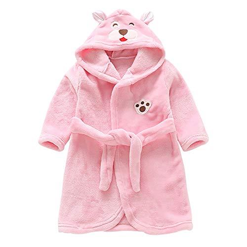 Miyanuby Peignoir de Bain pour Enfant Bébé Garçon/Fille à Capuche, Hiver Mignon Animal Doux Chaud Polaire Robe de Chambre/Pyjamas 1-7 Ans