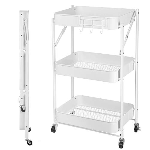 3 Tier Foldable Rolling Cart Metal Utility Cart with Wheels Small Portable Pre-Assembled Bathroom Kitchen Office White