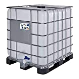 Cisterna IBC 1000 Litri in plastica, usata/rigenerata, coperchio 150 mm, valvola di scarico 2', pallet in plastica, omologata ADR/ONU, colore neutro