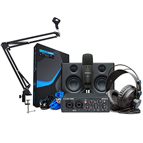 Presonus Audiobox 96 Ultimate Bundle Recording-Set + keepdrum Gelenkarm Stativ