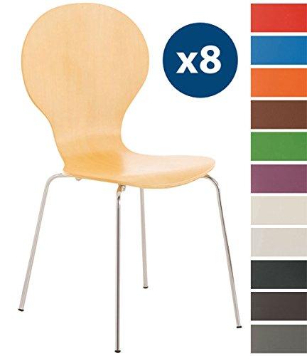 CLP 8 x Stapelstuhl Diego l Ergonomisch geformter Konferenzstuhl mit Holzsitz und Metallgestell I Stapelbarer Stuhl mit pflegeleichter Sitzfläche Natura