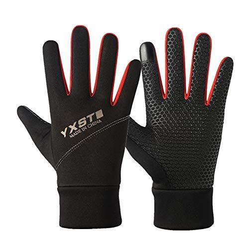 FUFU Manoplas Guantes Cálidos De Invierno Deportes Pantalla Táctil Guantes Antideslizantes Running Gloves Guantes De Ciclismo Conducción De Guantes Cálidos, 3 Colores (Color : Red)
