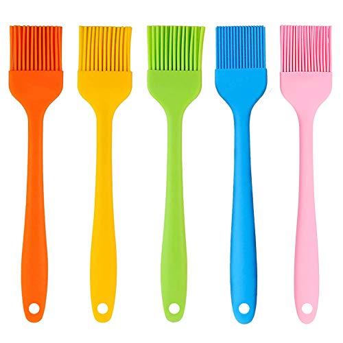 Juego de cepillos para barbacoa de 5 piezas de silicona de 21 cm, resistente al calor, suave y duradero. Utilizado en aceite, mantequilla, aromatizantes, especias, adecuado para cocina, barbacoa