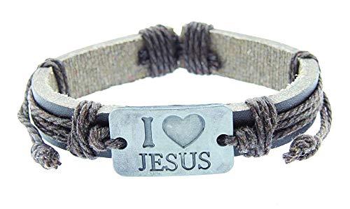 Heren armband - man - love jezus - armband - verstelbaar - ijesus - christus - love jezus - leer - kunstleer - bruin - kerst - origineel cadeau idee i love jesus