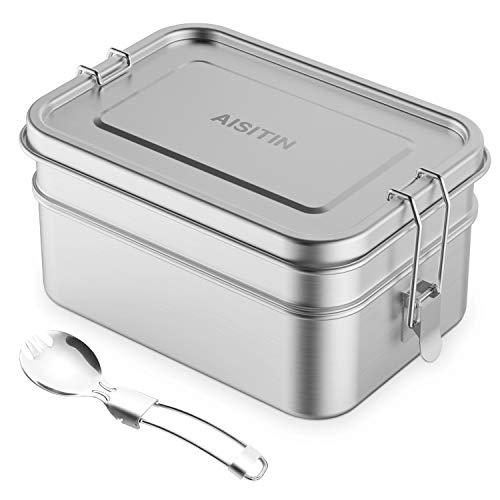 AISITIN Edelstahl Brotdose mit 2 Fächern Lunchbox Auslaufsicher ohne Plastik & BPA, Bento Box für Kinder und Erwachsene