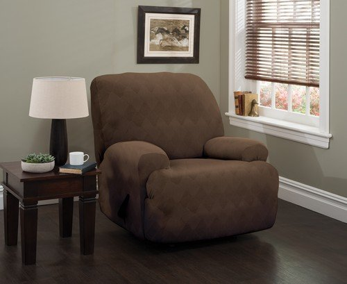 Stretch Sensations, Optic Jumbo Recliner Slipcover, Oversized Recliners, Perfect Chair Protection, Comfortable Easy Stretch Fabric (Chocolate)