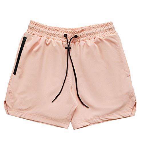 ZZALLL Men Running 2 In 1 Shorts Handtuchschlaufentaschen Hosen - Pink