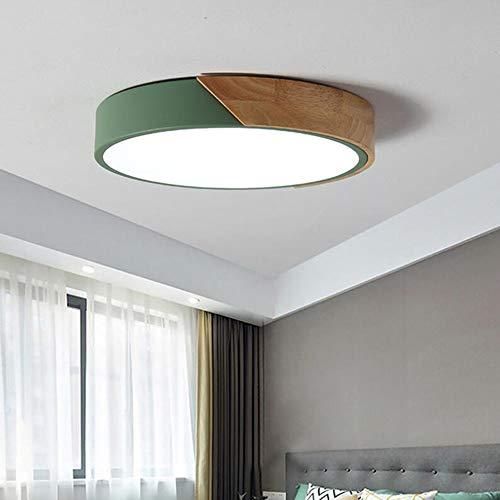 12W Led Dimmbar Deckenleuchte Grün Metall Holz-Lampe Deckenlampe mit Fernbedienung Einstellbar Badlampe Schlafzimmerlampe Galerie Treppen Foyer Innenlampe,D30CM