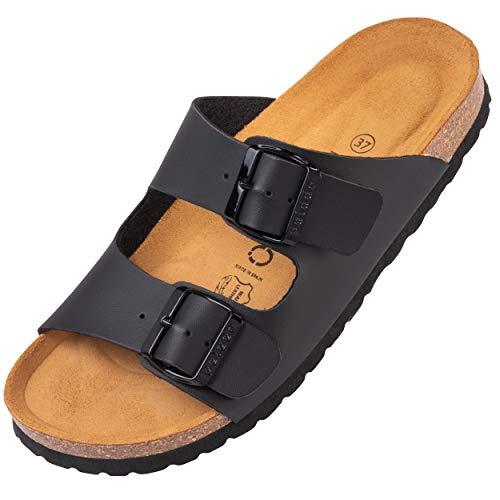 Palado® Damen Sandale Korfu | Made in EU | Pantoletten in 11 modischen Farben | 2-Riemen Sandaletten mit Natur Kork-Fussbett | Herren Hausschuhe mit Leder-Laufsohle Schwarz Matt 38 EU