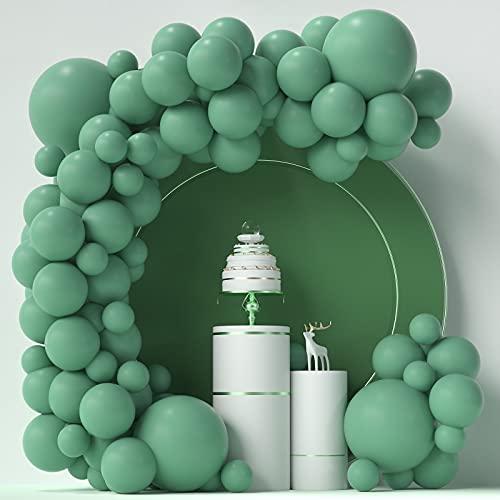 Globos verdes salvia 84 piezas verde salvia globos Garland arco kit 5 pulgadas + 12 pulgadas + 18 pulgadas verde oliva globos feliz cumpleaños bebé ducha decoraciones boda globos