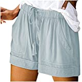 KUDICO Damen Shorts Sommer Strand Kurze Hosen Tunnelzug Elastische Stoffhose Solide Yoga Sweatpants...