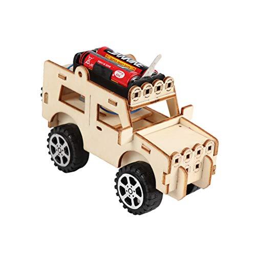 Toyvian - Kit de construcción de coche de madera para Jeep DIY, modelos 3D, Puzzle de madera, juguete educativo para niños