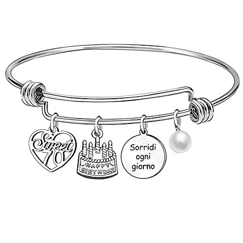 13 16 18 21 30 40 50 60 70 años regalo de cumpleaños pulsera plata para mujer niña, L,
