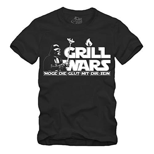 Grill Wars - Möge die Glut mit dir Sein - T-Shirt Dunkle Seite (XXXL, Schwarz)