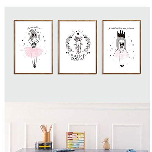 nr Rosa Ballerina meisjes canvas schilderij Nordic muurkunst poster afbeelding wooncultuur kinderen slaapkamer woonkamer Home -40x60cmx3 zonder lijst