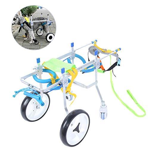【𝐏𝐚𝐬𝐜𝐮𝐚】 Aleación de aluminio de 4 ruedas Silla de ruedas para mascotas Discapacitados Paseos asistidos por perros Coche Rehabilitación de patas traseras Coche auxiliar Plata con manual para p