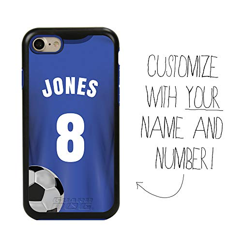 Custom Soccer Jersey Case for iPhone 7/8/SE by Guard Dog - Personalized Sports - Your Name and Number on a Protective Hybrid Phone Case (Black Case, Blue Silicone)