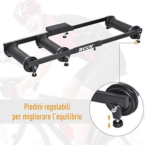 homcom Rullo per Bicicletta Portatile Allenamento Fitness da Casa Lunghezza Regolabile 49 × 16 × 82-130cm