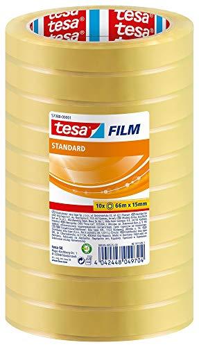 tesafilm standard - Nastro Adesivo Trasparente Multiuso per la Casa, l Ufficio e la Scuola, 66 m x 15 mm - Confezione da 10 Rotoli