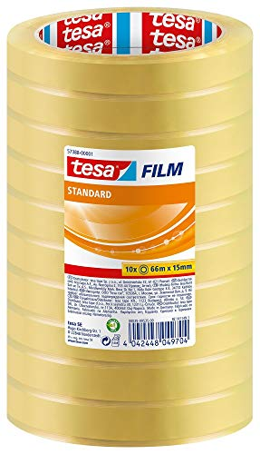 tesafilm standard - Nastro Adesivo Trasparente Multiuso per la Casa, l'Ufficio e la Scuola, 66 m x 15 mm - Confezione da 10 Rotoli