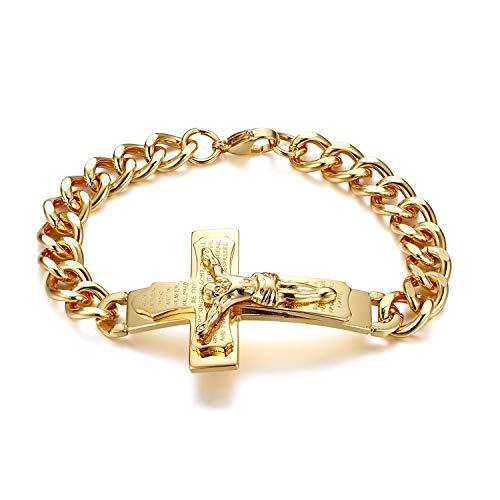 JewelryWe Pulsera de hombre oración pulsera crucifijo Biblia Inglesa Cruz Jesu Padre Señor de acero inoxidable color plata oro regalo dorado