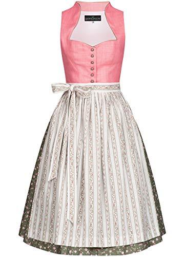 Berwin und Wolff Damen Trachten-Mode Midi Dirndl Traudl in Rosa traditionell, Größe:34, Farbe:Rosa