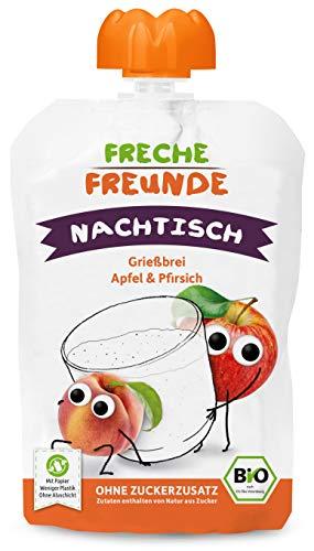 FRECHE FREUNDE Bio Quetschie Grießbrei Apfel & Pfirsich, Fruchtmus im Quetschbeutel für Kinder & Babys ab 1 Jahr, 600 g