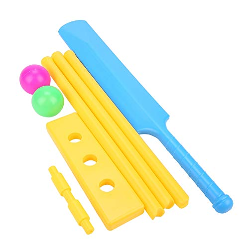 Demeras Kinder Cricket Set Cricketschläger 2 Bälle mit Wicket Stand Interaktives Brettspiel Cricket Spielzeug Set