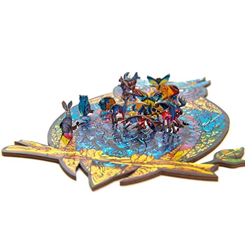 M-1 Wooden Jigsaw Puzzles,Unique Shape Jigsaw Pieces Charming Owl Best Gift for Adults and Kids Learning Educational Puzzles Toy 13.78×8.27in inches,187 Pieces