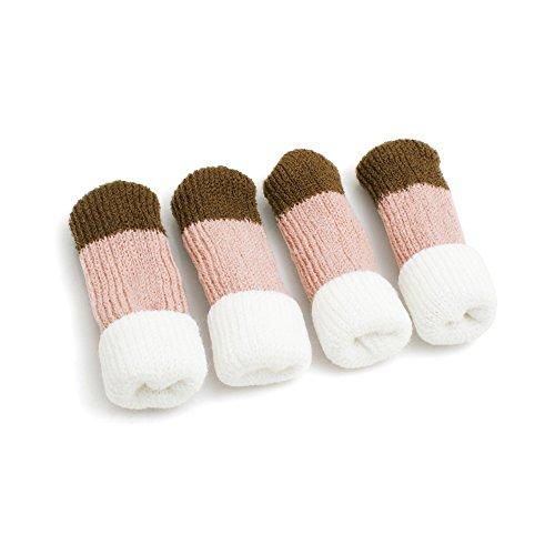 Design61, calzini per sedie, per gambe di tavolo, per mobili, una protezione per il pavimento, set di 4 pezzi, colore: bianco, rosa, marrone