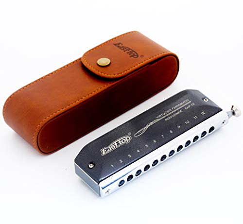 East top 12 Hole 48 Tone Upgrade Chromatic Harmonica Key of C,Professional Harmonica For Adults, Students and harmonica lovers as Best Gift(EAP-12)