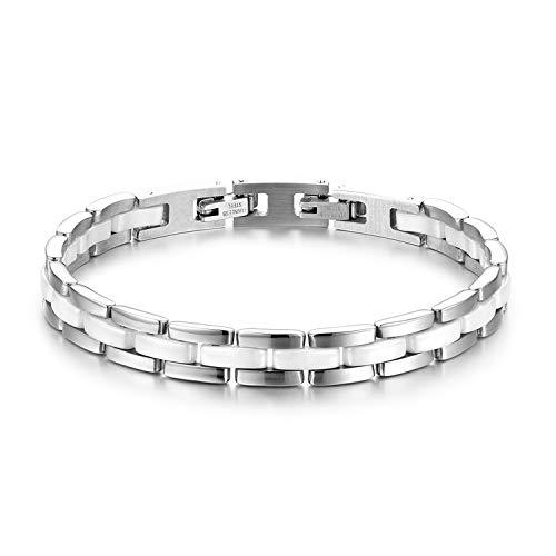 JewelryWe Schmuck Damen Armband Edelstahl Keramik I Rechteck Link Gliederarmband Armkette Armreif Weiß Silber