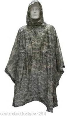 4 Star Military Surplus USGI Army Issue ACU Digital Wet Weather RAIN Poncho 8405-01-547-2555