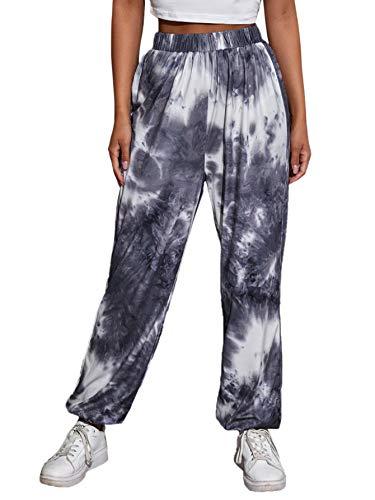 SweatyRocks Women's Juniors Soft Jogger Sweatpants Tie Dye Elastic Waist Pants Grey Large