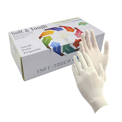 Infi-Touch Soft and Tough, Disposable Latex Gloves, Powder Free, 9.5
