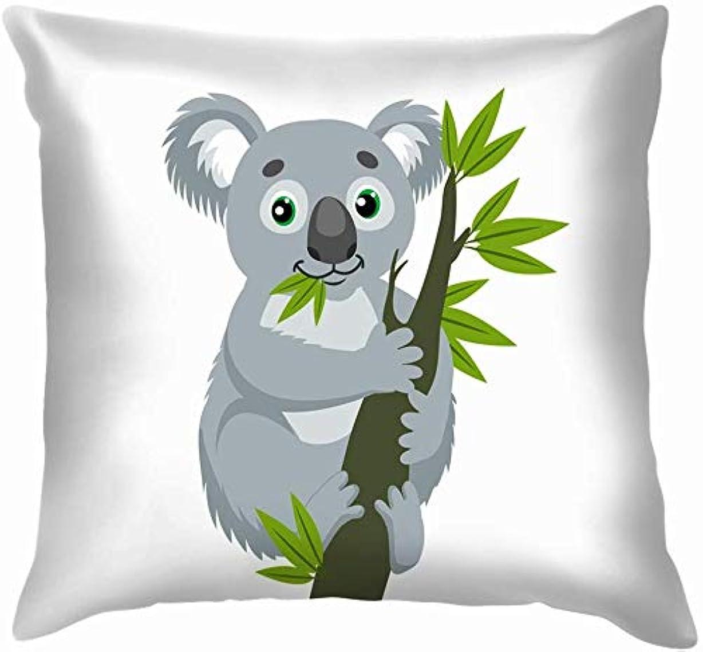 ドライバ戻る記録コアラウッドブランチ緑の動物野生動物自然投げる枕カバーホームソファクッションカバー枕カバーギフト45x45 cm