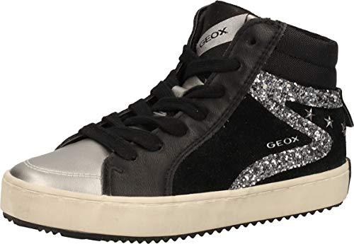 Geox J Kalispera Girl J044GA000BC, Sneaker para Niñas, (Black/Dk Silver), 31 EU