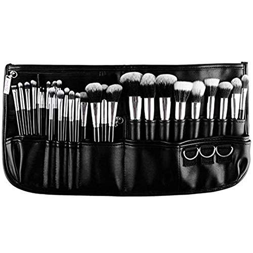Pinceau de maquillage professionnel ensemble brosse de maquillage avec un sac en cuir, pinceau fond de teint, poudre brosse, brosse oeil, brosse lèvres, argent brosse anticernes,Noir