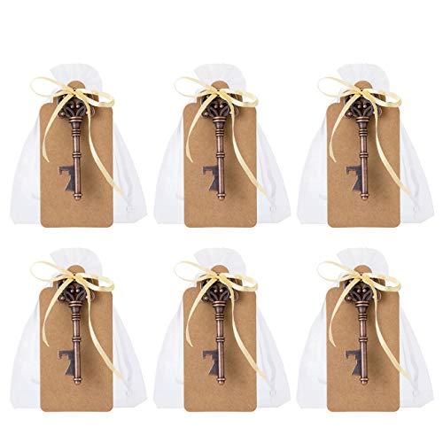GWHOLE 50 x Abrebotellas de Forma Llave Vintage Regalo Ideal para Invitados de Boda, Detalle de Comunión Celebración Decoración Fiestas Souvenirs, Viene con Cuerda y Etiqueta de Papel Kraft