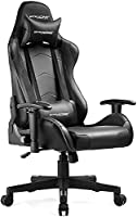 This GTRACING gaming chair is wrapped in black leatherette and carbonfiber in a sleek, race-inspired shape, providing immersive gaming experience. Ergonomic design helps you maintain a neutral, balanced posture and reduce your pressure and pain. Well...
