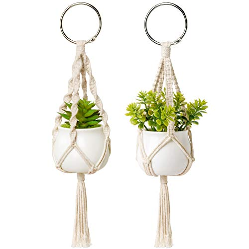 Dahey Mini Macrame Plant Car Hanging 2 Pcs Hanging Succulent for Car Decorations Handmade Rear View Mirrior Charm Boho Planter with Ceramic Pot and Plant for Car Home Decor, 10.5 inch, White