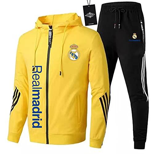 JesUsAvila de Los Hombres Chandal Conjunto Trotar Traje Real-Madrid Hooded Zipper Chaqueta + Pantalones Deporte Sudadera Suéter de Los Hombres/yellow/XXXL