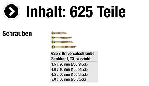 CONNEX Universalschrauben, 4 Größen, TX, verzinkt, 625 Stück im Eimer