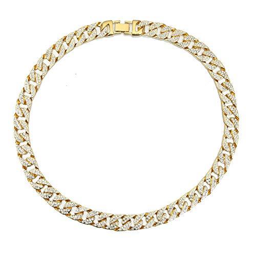 Aymsm Estilo Punk Europeo y Americano Lleno de Collar Cubano, Pulsera de Cadena con Tachuelas de Diamantes, Collar de Oro