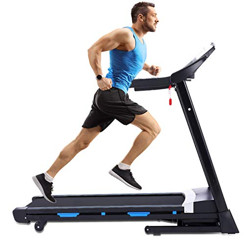 ANCHEER Treadmill, 3.25Hp App Control Folding Treadmill with Automatic Incline and Bluetooth Speaker, Best Walking Running Heavy Duty Treadmills for Home Gym Office Cardio Use