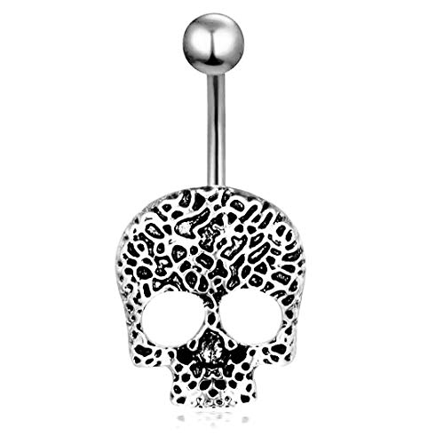chenwei Ghost Head Navel Ring Skull Head Navel Nail Titanium Steel Body Piercing Jewelry Hypoallergenic Zircon Navel Ring (Silver)