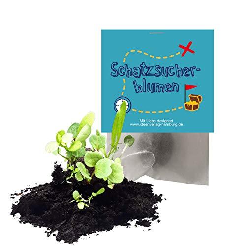 """10x """"Schatzsucher"""" Samenbomben als Mitgebsel zum Kindergeburtstag / Schnitzeljagd / GeoCaching / Seedbombs / Partytüten / Mitgebseltüten / Geschenktüten / Blumen / Give-aways / Kinder / Saatkugeln"""