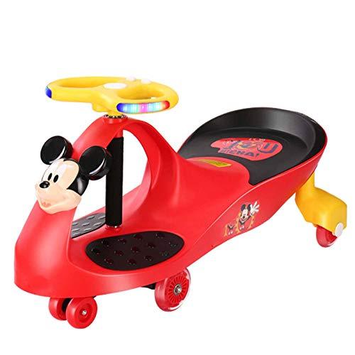 XJY Niña Niños Correpasillos Infantil Coche Sentado Ride On Wiggle Swing Twist Car Gyro Swivel Pedales Bicicletas Música Patinete Antivuelco Silencio Luces Ruedas Volante Manejar,Rojo