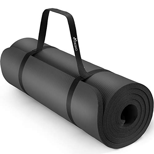 TRESKO Tapis d'exercice Fitness Yoga Pilates Gym, 185 x 60 cm, en Mousse NBR (Noir, 185 x 60 x 1,0cm)